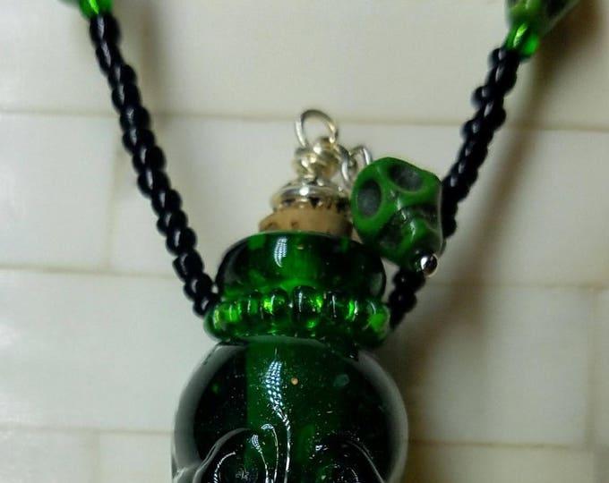 Skull Bottle Necklace, Green Glass Skull Poison Bottle Necklace, Day of the Dead Bottle necklace