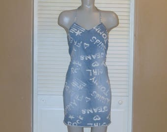 Vintage Tommy Hilfiger Blue Denim Halter Chalk Grafitti Mini Dress~S~