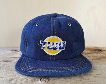 TWU Original Vintage 80s Denim Trucker Snapback Hat Telecommunications Workers Union Defunct Baseball Cap Canadian ACTWU Adjustable Ballcap