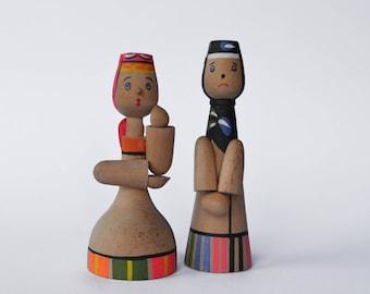 Vintage Wooden Dolls, Russian Babushka Dolls, Wooden Toys, Retro Rustic Toys, Wooden Vintage Home Decor, Russian Girl Figurine Handmade Doll