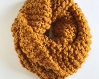 Mustard Cowl, Knit Mustard Scarf, Women's Chunky Cowl, Super Chunky Knit Cowl, Chunky Scarf, Hand Knit Scarf, Big Chunky Cowl