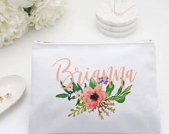 Floral Monogram Makeup Bag Personalized Bridesmaid Toiletry Bag, Coral Custom Cosmetic Bag, Personalized toiletry bag, pencil bag
