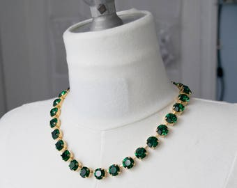 18th Century Reproduction Emerald Green Rhinestone Paste Glass Collet Necklace.  Rococo, Colonial, Georgian, Historical, Anna Wintour.