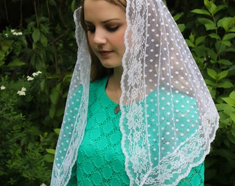 Evintage Veils~ Our Lady of Light Pure White Traditional Catholic Lovely Vintage Inspired NEW Mantilla Chapel Veil