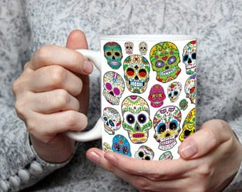 Day of the Dead Mug, Sugar Skulls Cup, Halloween Day of the Dead Decoration, Dia de las Muertos Cup, Halloween Gift Idea, Sugar Skull Gift