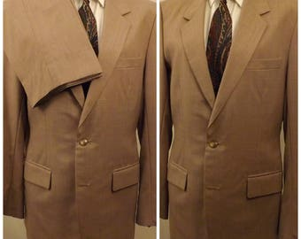 80s Custom Bespoke Tan Summer Wool Men's Suit Size 40 L