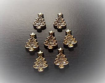 Gold Christmas Tree Floating Charm for Floating Lockets-Clear Crystals-Fits All Brands of Floating Lockets-Gift Idea