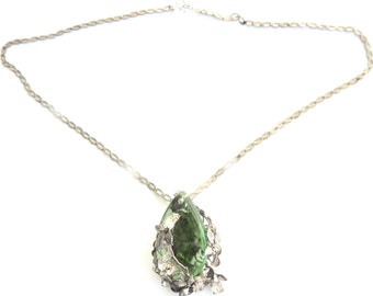 Green Crystal and Rhinestone Pendant on Silver Tone Chain