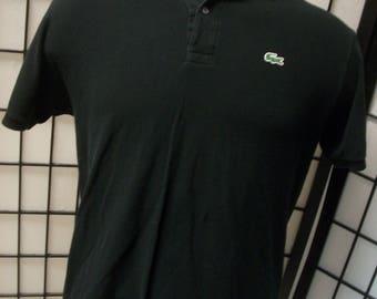 Lacoste alligator preppy adult black cotton polo shirt