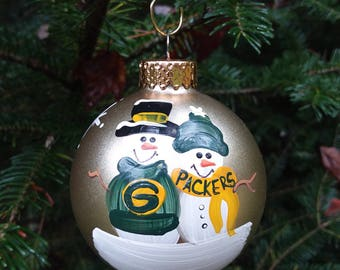 Green Bay Packers Family Personalized Snowman Christmas Ornament Handpainted Gift