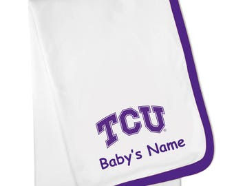 Texas Christian TCU Personalized Baby Blanket