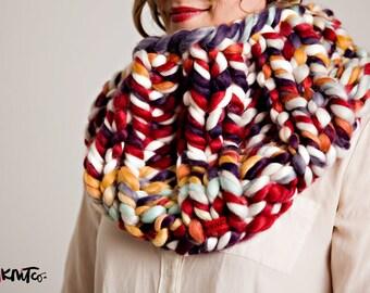 RAINBOW Elizabethan Collar Cowl (VEGAN)...vegan hand knit, chunky knit, knit cowl, vegan knit, vegan gift.