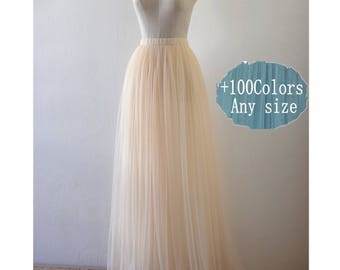 Adlut cream tulle skirt,wedding bridesmaid dress,floor length tulle skirt,women tutu