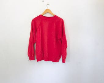 90's basic crew neck , red , soft vintage sweater , jumper , hanes ,size xl