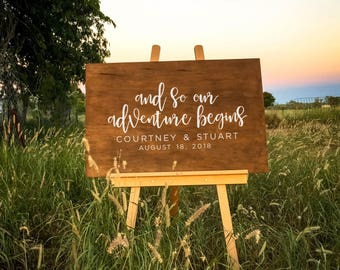 And so our adventure begins | Wedding Sign, Wooden Wedding Signs - Rustic Wedding Sign or Wedding Decor | Custom Wedding Sign Rustic Welcome