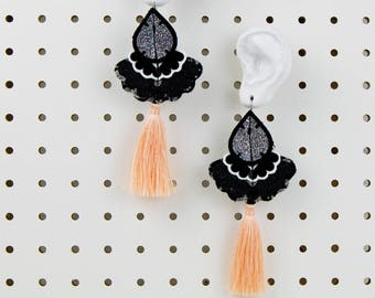 STATEMENT EARRINGS in black, silver glitter and peach. Light weight, oversize earrings, cut from recycled fabric and stitched by hand.