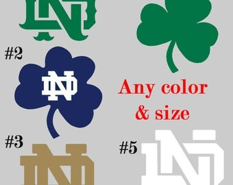 Vinyl Notre Dame Fighting Irish ND Decal Sticker Football for cellphone yeti car window computer smartphone coffee cup macbook