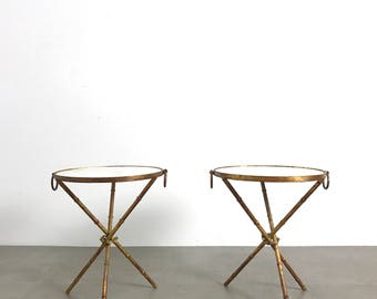 Pair Gilded Iron Tripod Marble Gueridons, 1960's