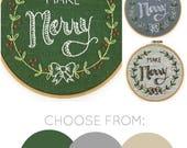 Make Merry Embroidery kit, Christmas embroidery, Merry Christmas, DIY holiday decor, Christmas embroidery pattern, I Heart Stitch Art