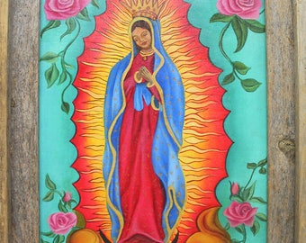 Our Lady of Guadalupe, Guadalupe canvas print, Mexican art, Guadalupe Folk art, Mother Mary, Religious art, Religious Icon