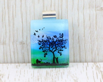 Fused Glass  Pendant-Dichroic Glass-Landscape-Trees with Cat and Dog-Fused Glass Jewellery-Dichroic Jewelry-Fused Glass Jewelry JBT558
