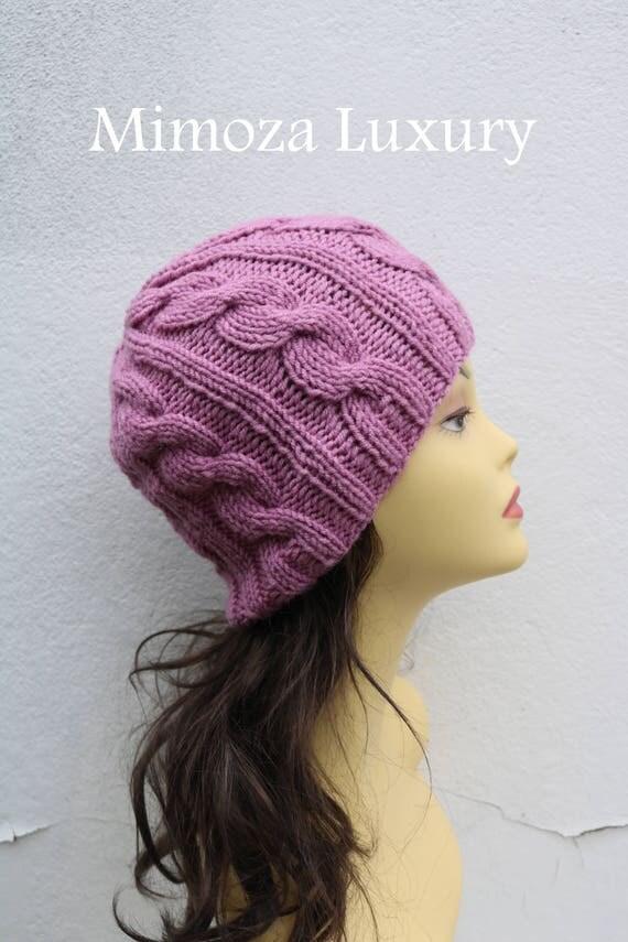 Dusky Pink women's Beanie hat, Hand Knitted Hat in mauve rose beanie hat cap, knitted men's, women's beanie hat, winter beanie, rose ski hat