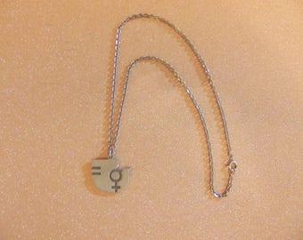 Jorgen Jensen 202 Denmark pewter female woman peace dove necklace pendant