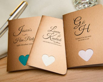 50 Copper Pearlised Mini Notebook Favours with hearts. Custom wedding favor place cards. Rose Gold Notepad favours. Personalised favours