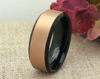 8mm Personalized Black and Rose Gold Tungsten Ring, Custom Promise Ring for Him, Purity Ring, Couple Promise Rings, Date Ring, Wedding Band