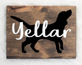 Hand Painted Beagle Silhouette on Stained Wood with Name Overlay, Dog Decor, Painting, Gift for Dog People, New Puppy Gift