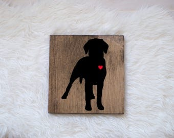 Hand Painted Labrador Retriever Silhouette on Stained Wood, Dog Decor, Dog Painting, Gift for Dog People, New Puppy Gift, Housewarming Gift