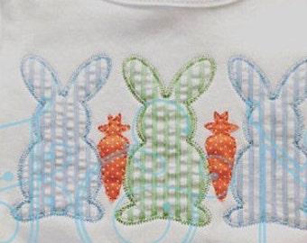 Easter Bunny Trio with Carrots,Bunny Applique, Easter Applique, Boy Easter Shirt, Easter Applique