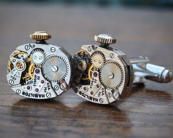 Hamilton Watch Movement Cufflinks - Steampunk Vintage Wedding Groom Gift Mens Present
