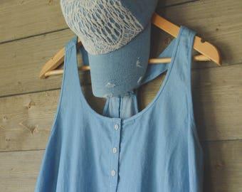 Denim Distressed Lace Hat