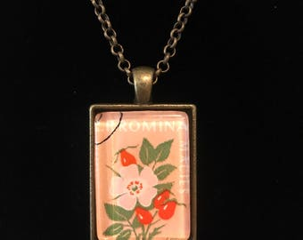 Romania Postage Stamp Necklace | Dog rose | Vintage postage stamp