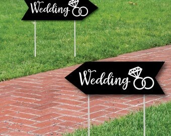 Wedding & Reception Signs - Black Wedding Sign - Double Sided Directional Yard Signs - Wedding Sign Arrow -  2 Wedding Signs