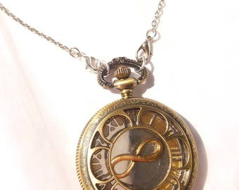 Clock-face Pendant Necklace-gold-tone infinity symbol