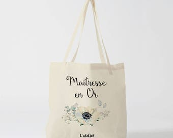 Master W133Y Tote bag personalized teacher canvas tote bag in cotton, super tote bag centerpiece, gift bag, school bag, canvas bag