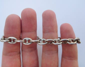 Charming Rare Victorian Solid 800 Silver Marine Nautical Ship Miniature Anchor Chain Bracelet ! Sea Ocean Navy