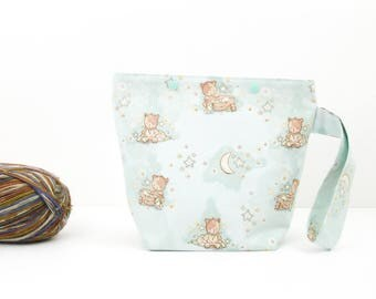 Baby bear project bag, knitting bag with snaps, toy crochet storage, cute craft organiser
