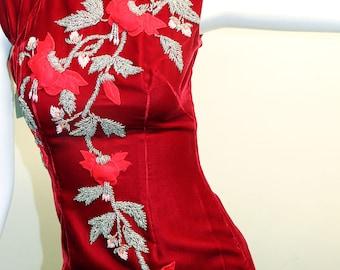 60s/70s Chinese Red Velvet Beaded Cheongsam Qipao Dress Roses Flowers S/XS