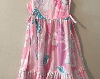 Vintage Hawaiian Maxi Dress. Vintage Pink Tropical Print Hawaiian Dress. Pink Hawaiian Dress with White Eyelet Details. 70's Hawaiian Dress.