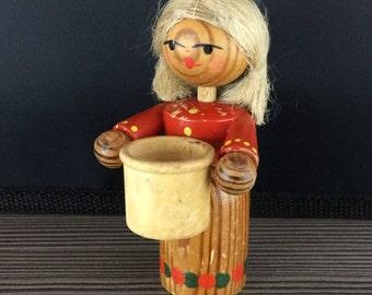 Vintage Wooden Candlesticks Holder Women Wood Christmas Ornament Figure Folk