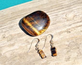 Tiny Tiger Eye Earrings * 12k Gold Filled Wire * Simple * Gemstone Jewelry * Healing Stones * Earthy