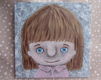 "Original Acrylic Painting 15x15 cm, 6""x6"" Portrait Face Painting. Small Painting Shabby Chic"