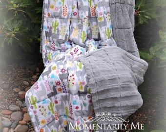 Double Minky Weighted Blanket 7-20 lbs-Llama Print Minky/Silver Chinchilla Cuddle Minky