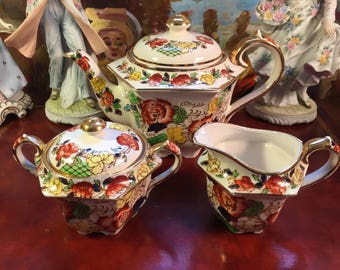 Sadler Teapot, Creamer and Sugar Bowl