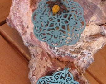 Hand painted etched earrings