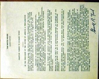 Gerald R Ford     Copy of President Nixon Pardon    Signed