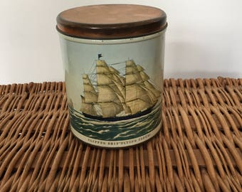 Vintage Currier & Ives Clipper Ship Round Metal Tin